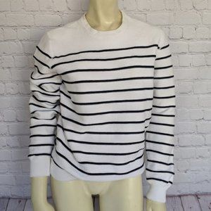 VINCE M White Black Striped Cotton Sweater